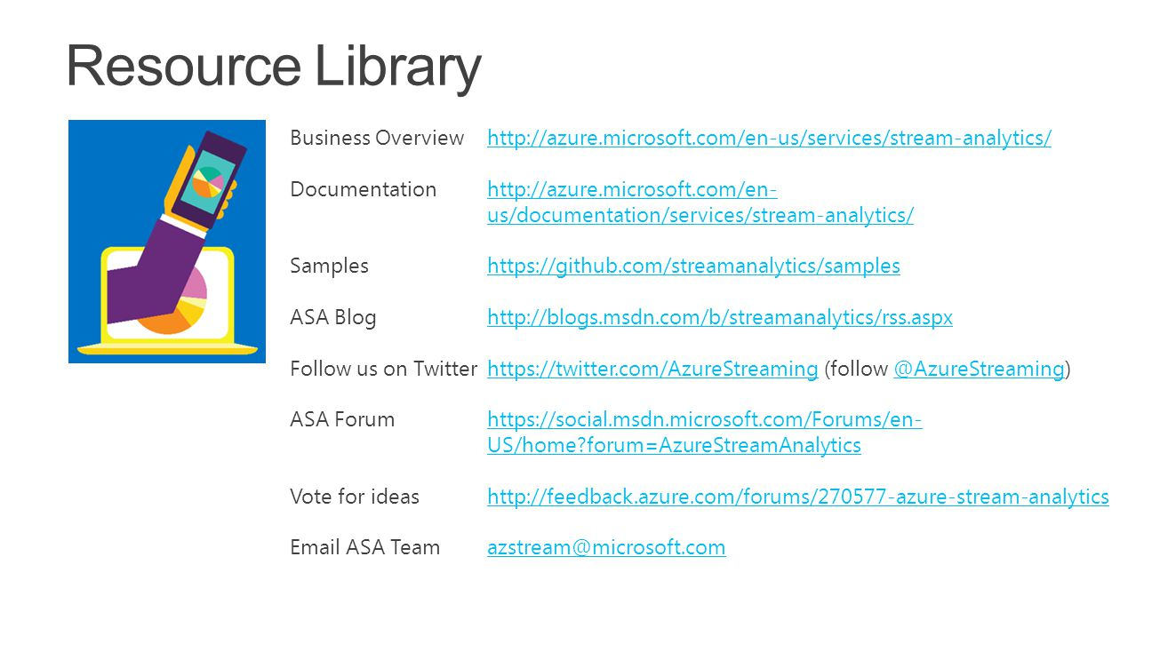 Build 2015 4/15/2017 10:27 AM. Resource Library. Business Overview http://azure.microsoft.com/en-us/services/stream-analytics/