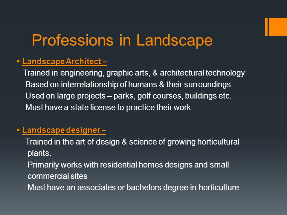 Professions in Landscape