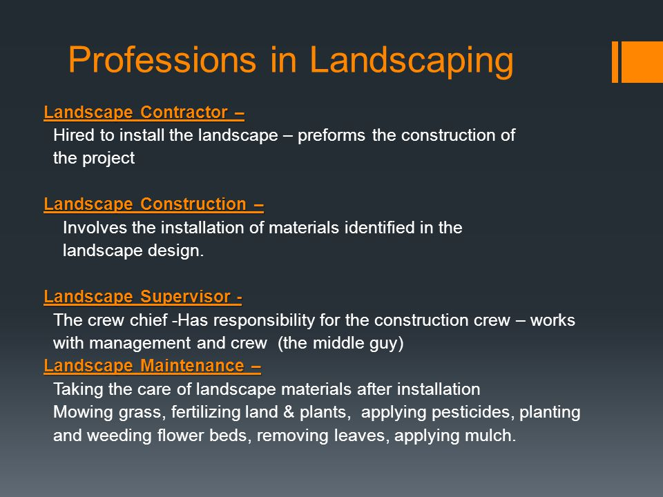Professions in Landscaping