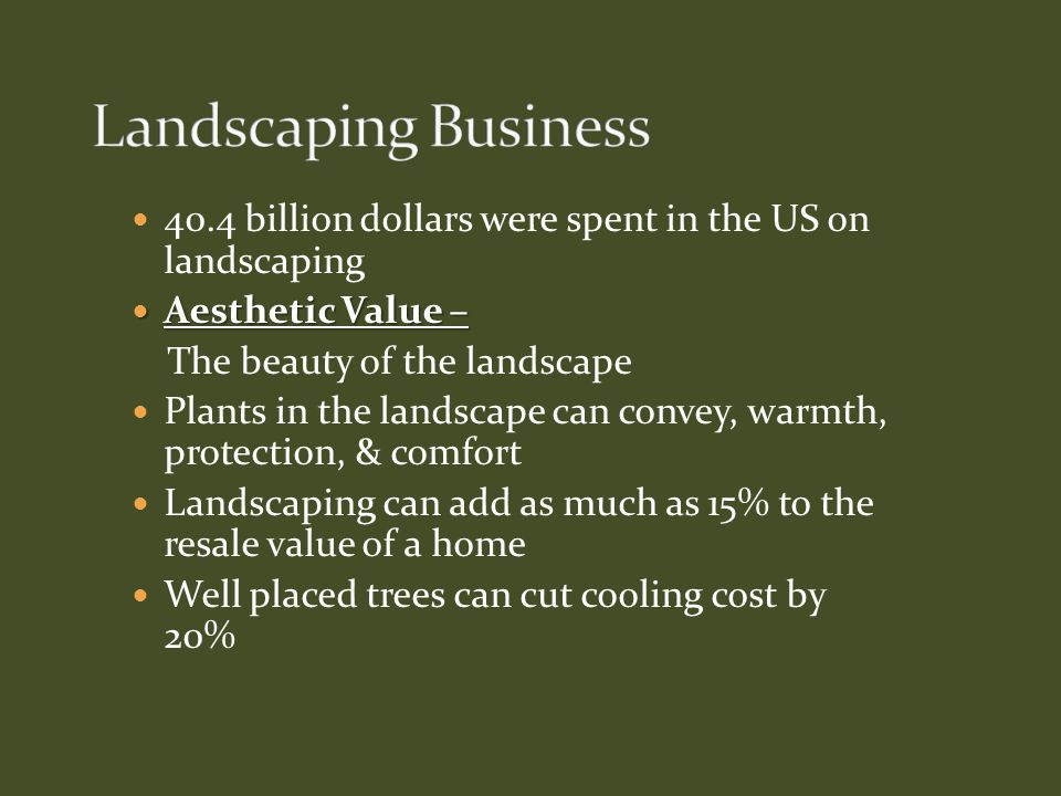 Landscaping Business 40.4 billion dollars were spent in the US on landscaping. Aesthetic Value – The beauty of the landscape.