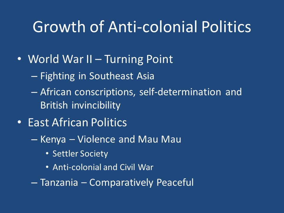 Growth of Anti-colonial Politics
