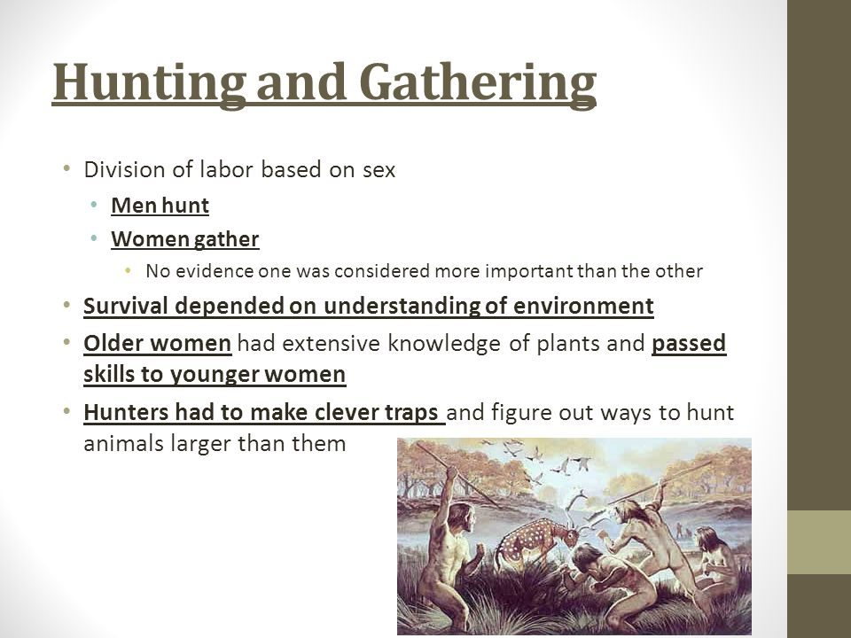 Hunting and Gathering Division of labor based on sex