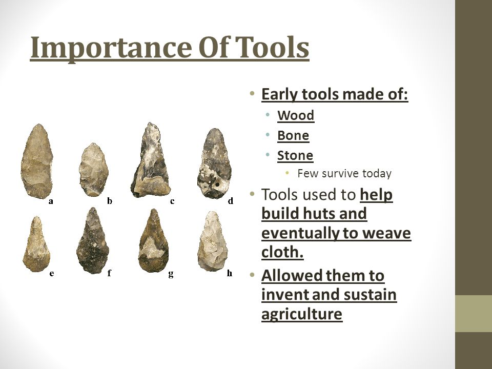 Importance Of Tools Early tools made of: