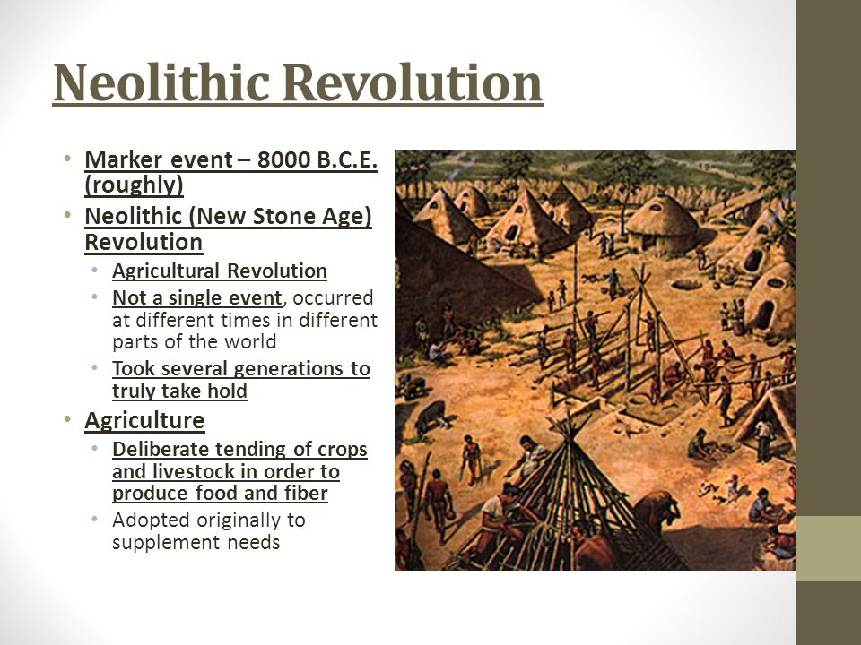 Neolithic Revolution Marker event – 8000 B.C.E. (roughly)