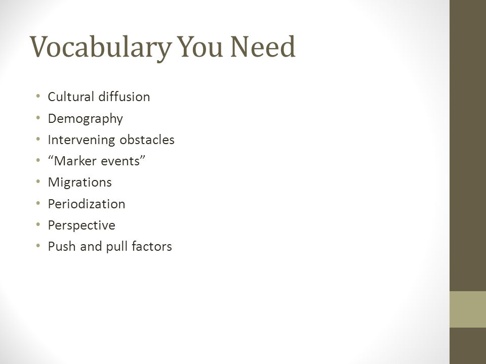 Vocabulary You Need Cultural diffusion Demography