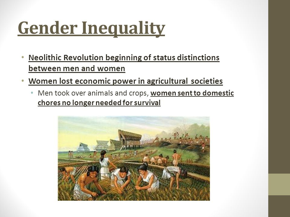 Gender Inequality Neolithic Revolution beginning of status distinctions between men and women. Women lost economic power in agricultural societies.