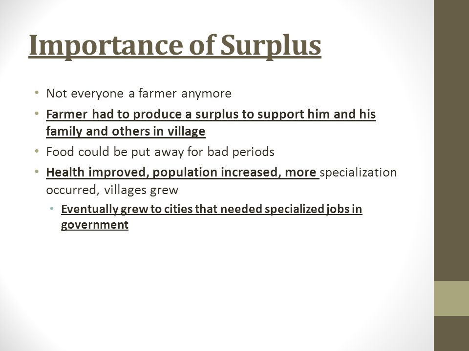 Importance of Surplus Not everyone a farmer anymore
