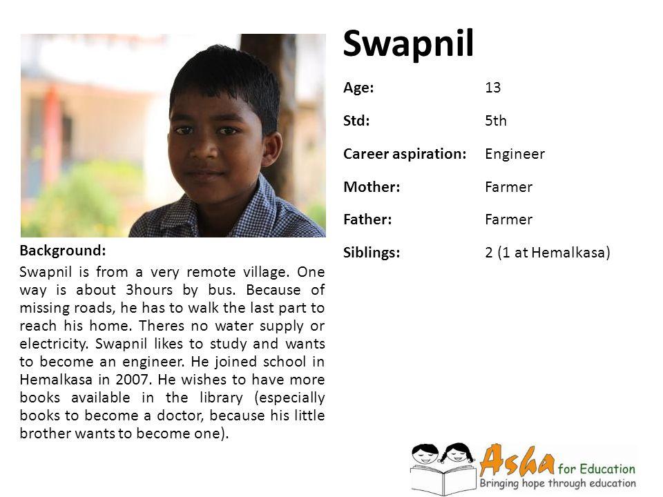 Swapnil Age: 13 Std: 5th Career aspiration: Engineer Mother: Farmer