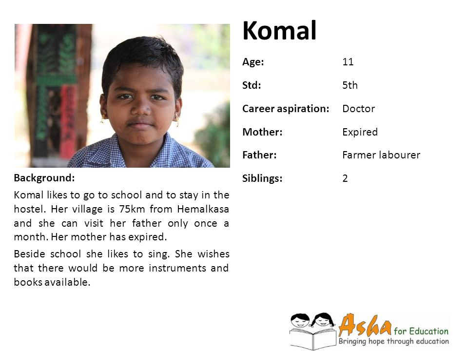 Komal Age: 11 Std: 5th Career aspiration: Doctor Mother: Expired