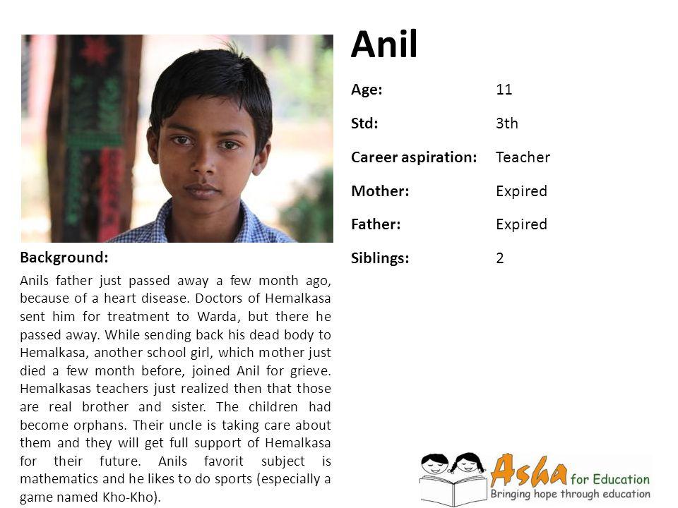 Anil Age: 11 Std: 3th Career aspiration: Teacher Mother: Expired