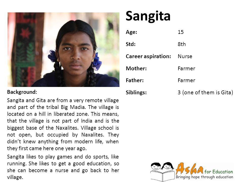 Sangita Age: 15 Std: 8th Career aspiration: Nurse Mother: Farmer
