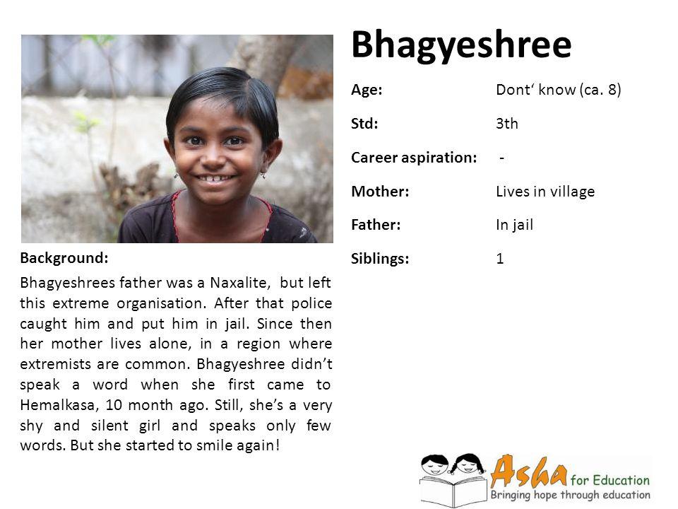 Bhagyeshree Age: Dont' know (ca. 8) Std: 3th Career aspiration: -