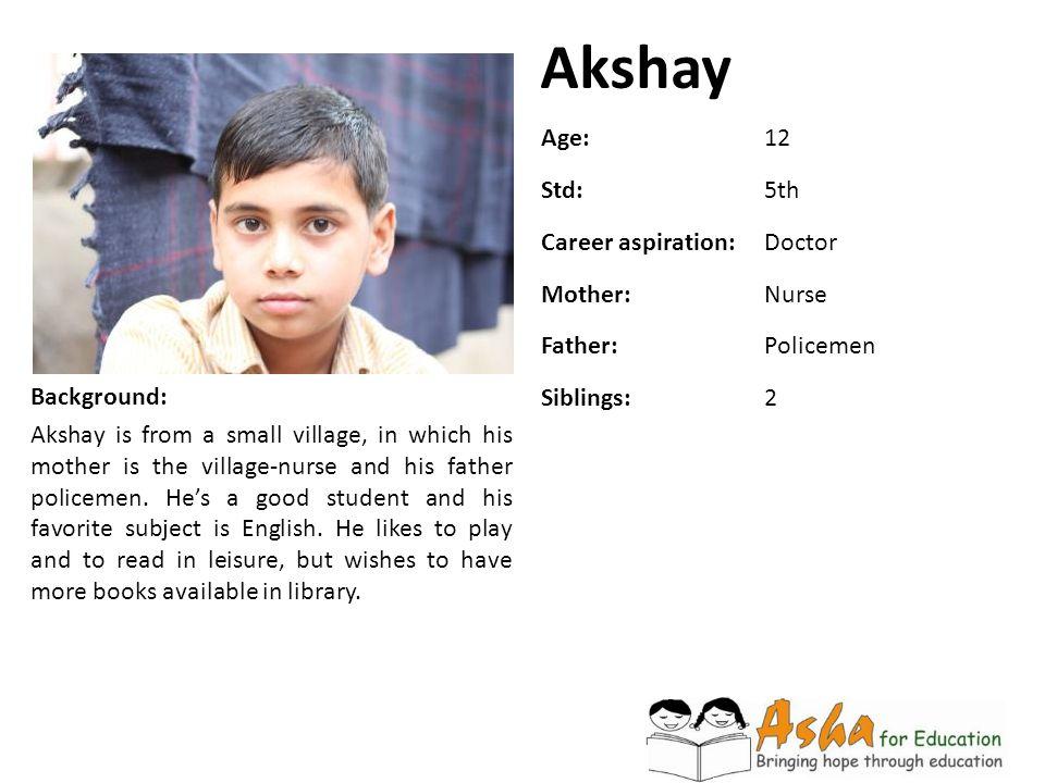 Akshay Age: 12 Std: 5th Career aspiration: Doctor Mother: Nurse