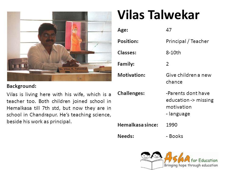Vilas Talwekar Age: 47 Position: Principal / Teacher Classes: 8-10th