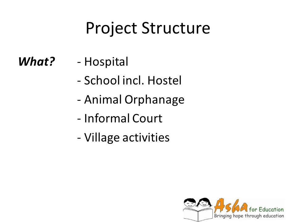 Project Structure What - Hospital - School incl. Hostel