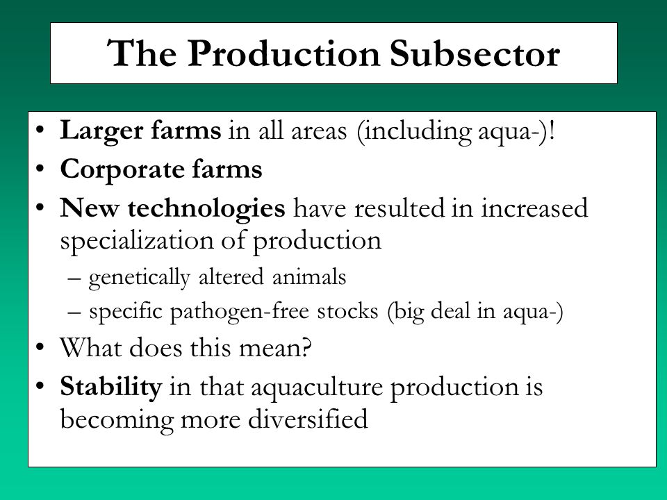 The Production Subsector
