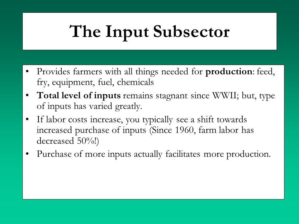 The Input Subsector Provides farmers with all things needed for production: feed, fry, equipment, fuel, chemicals.