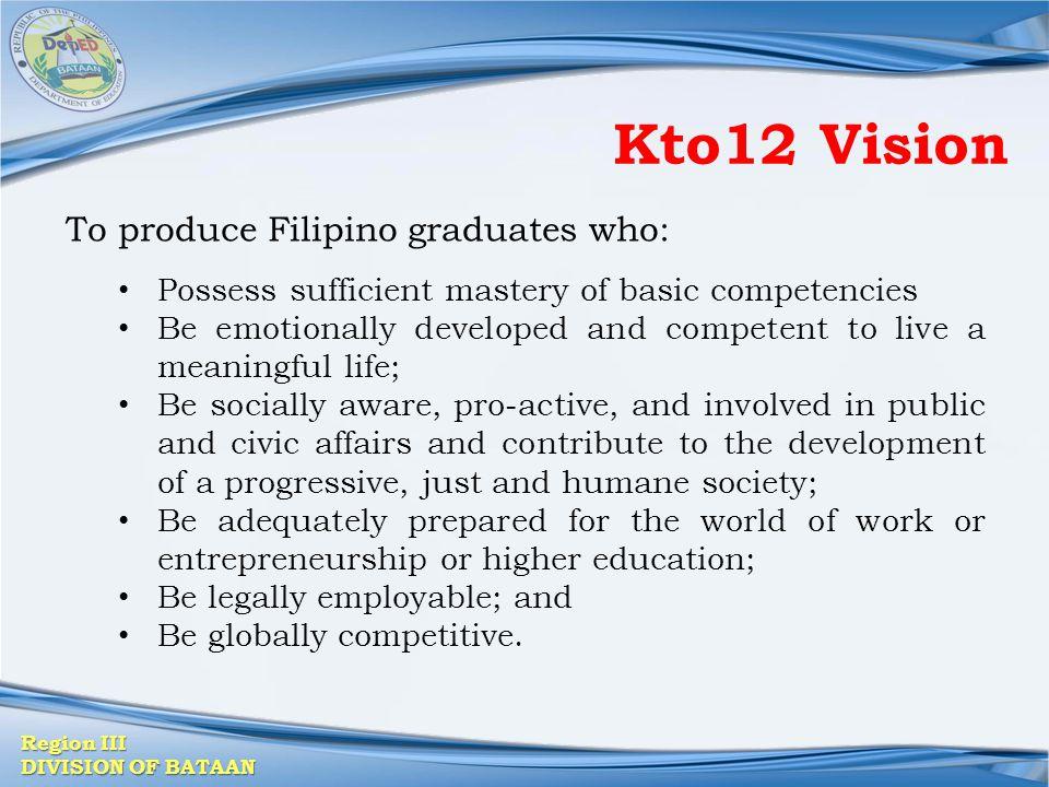 Kto12 Vision To produce Filipino graduates who: