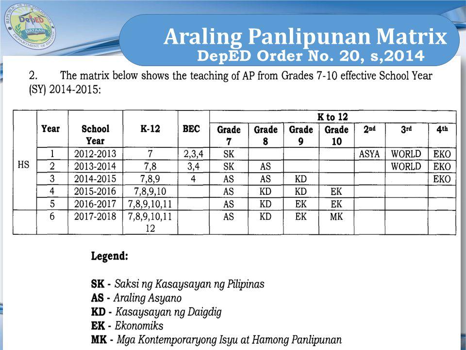 Araling Panlipunan Matrix