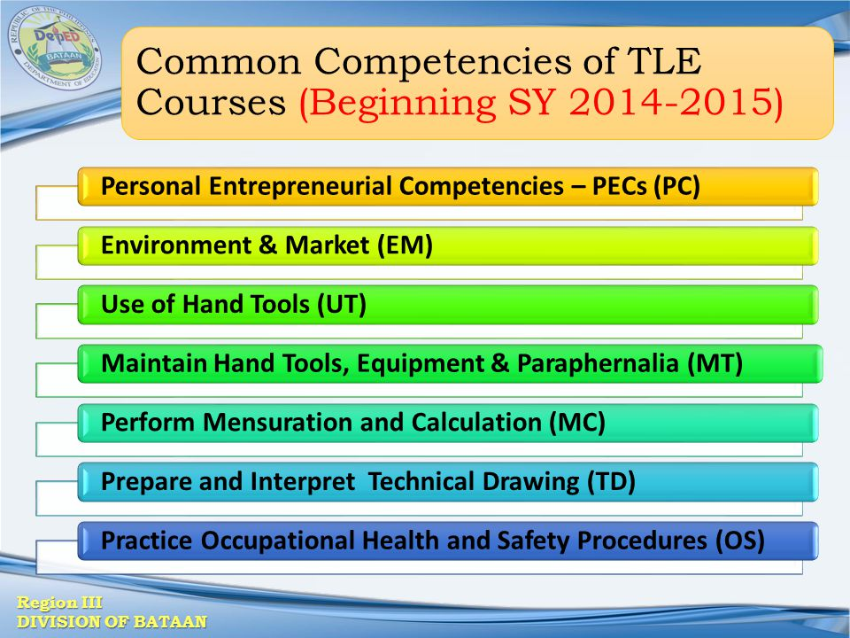 Common Competencies of TLE Courses (Beginning SY 2014-2015)