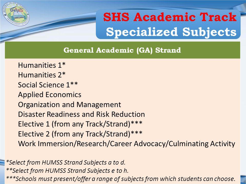 General Academic (GA) Strand