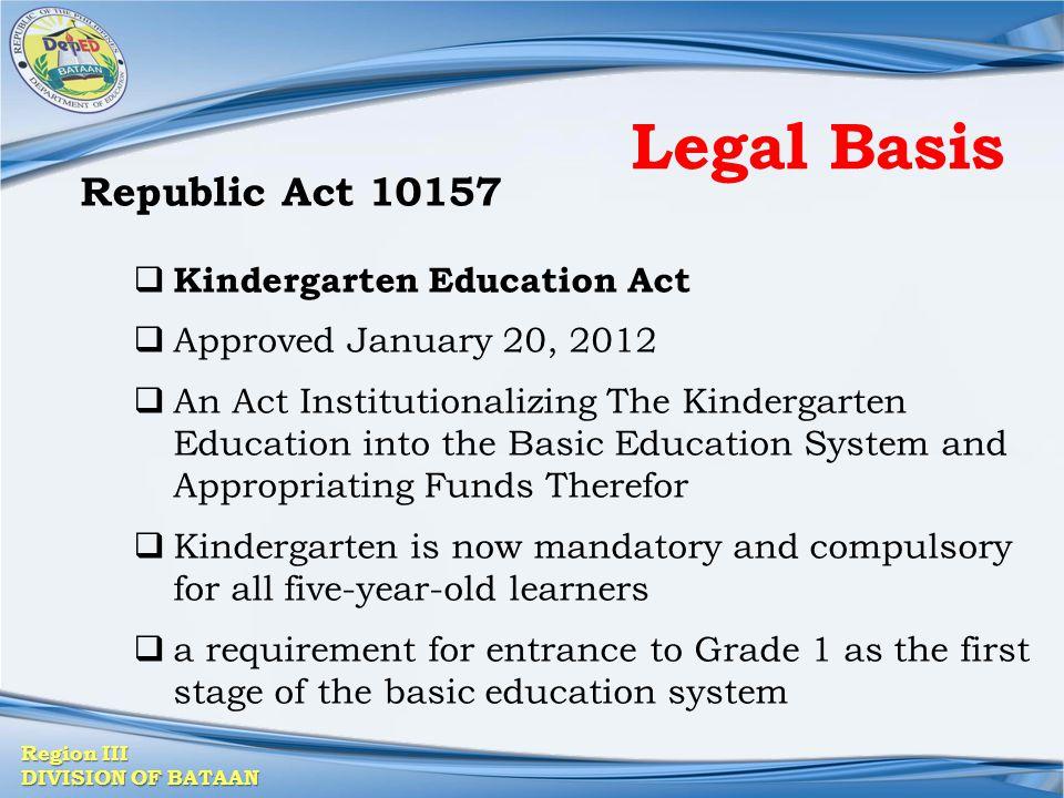 Legal Basis Republic Act 10157 Kindergarten Education Act