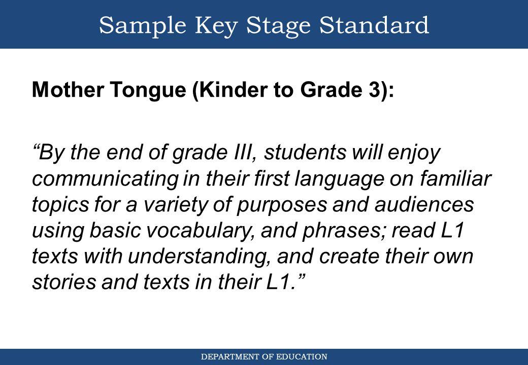 Sample Key Stage Standard