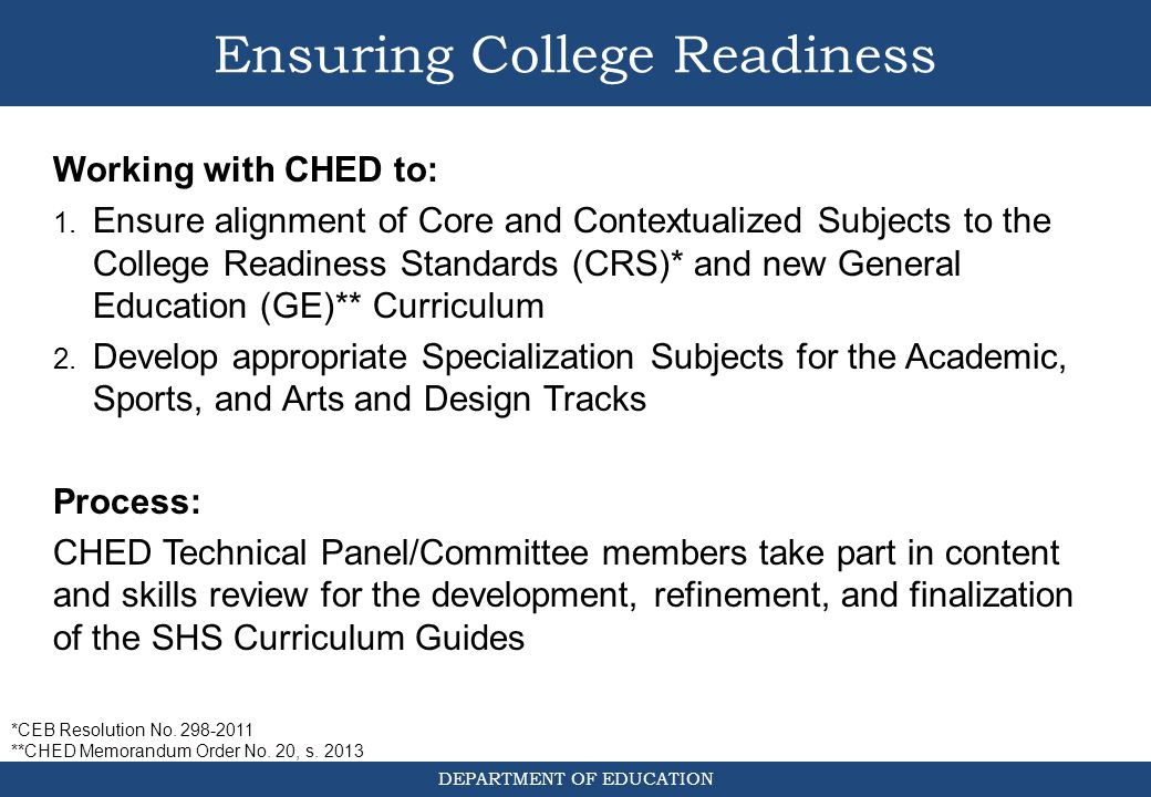 Ensuring College Readiness