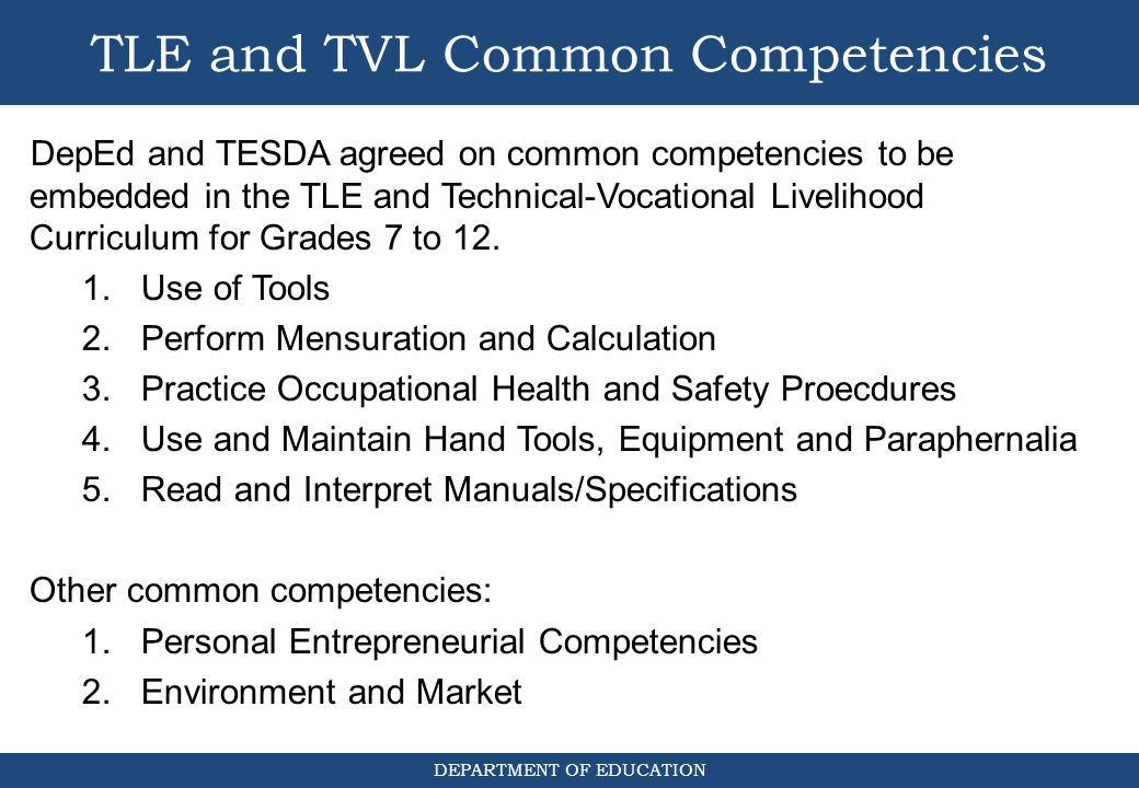 TLE and TVL Common Competencies