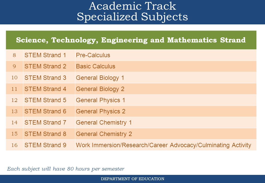 Science, Technology, Engineering and Mathematics Strand