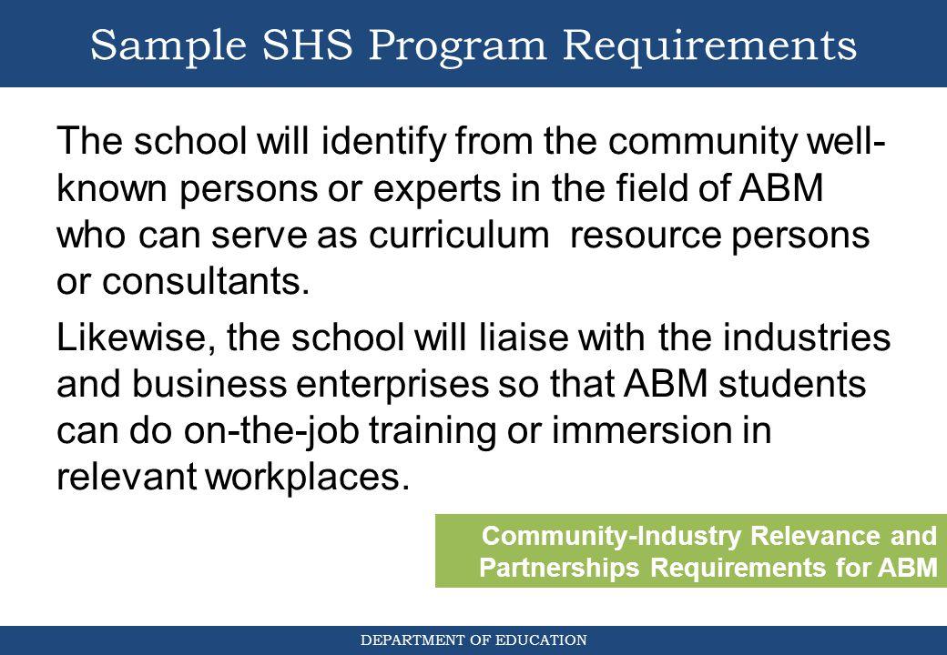 Sample SHS Program Requirements