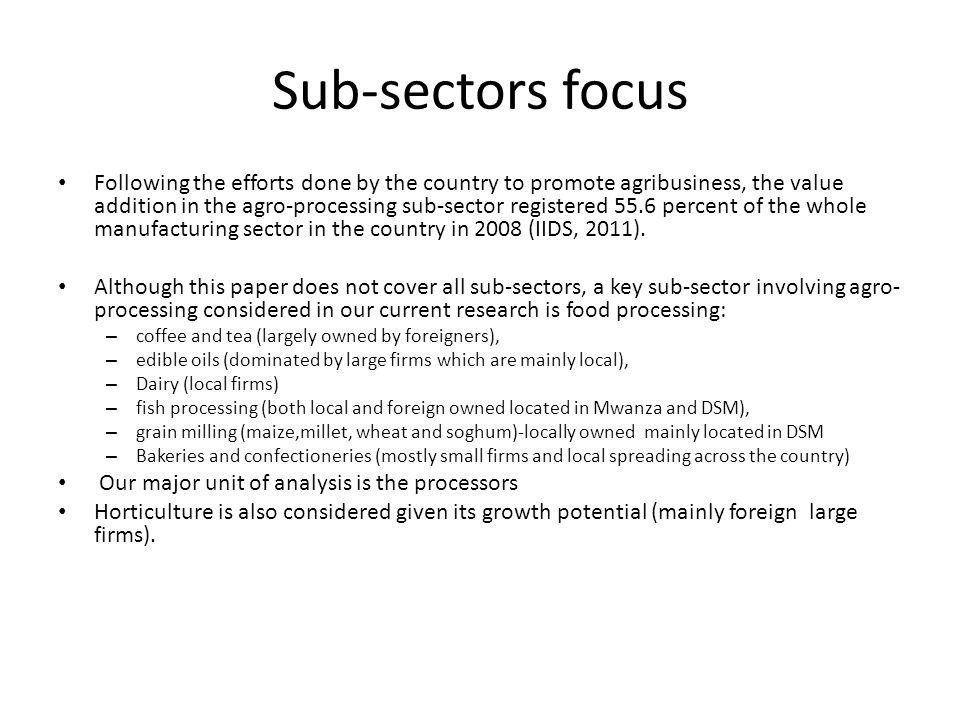 Sub-sectors focus