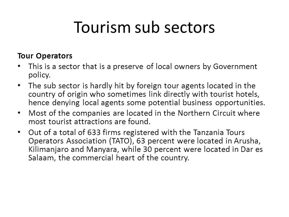 Tourism sub sectors Tour Operators