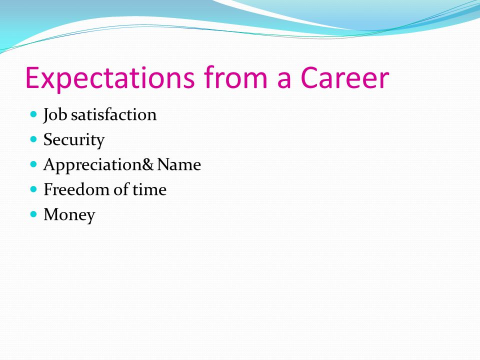 Expectations from a Career
