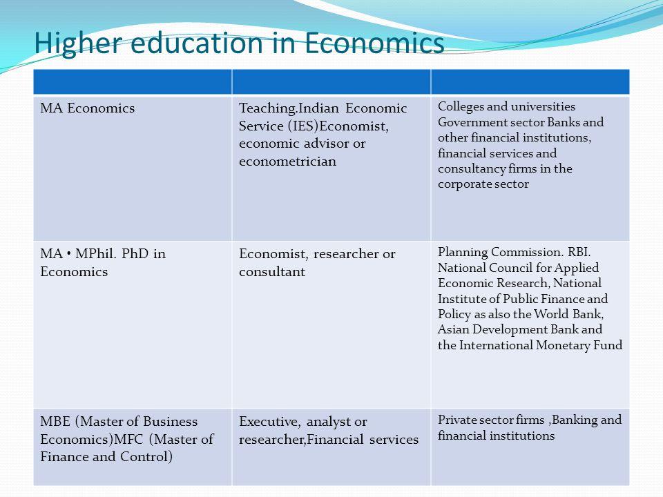 Higher education in Economics