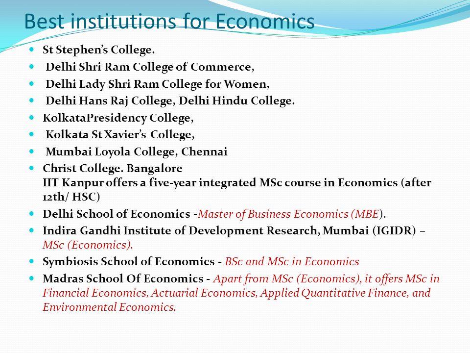 Best institutions for Economics
