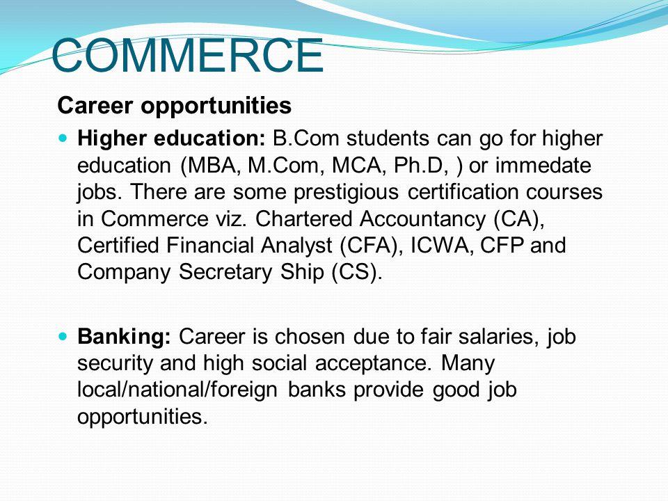 COMMERCE Career opportunities