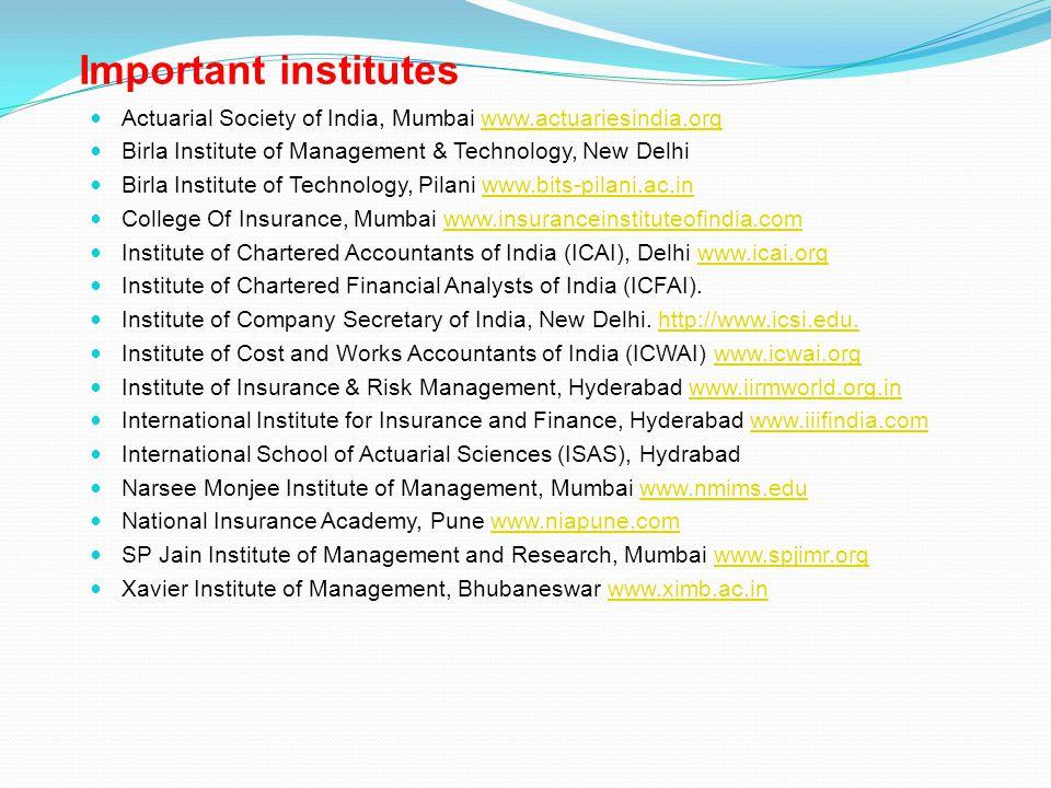 Important institutes Actuarial Society of India, Mumbai www.actuariesindia.org. Birla Institute of Management & Technology, New Delhi.