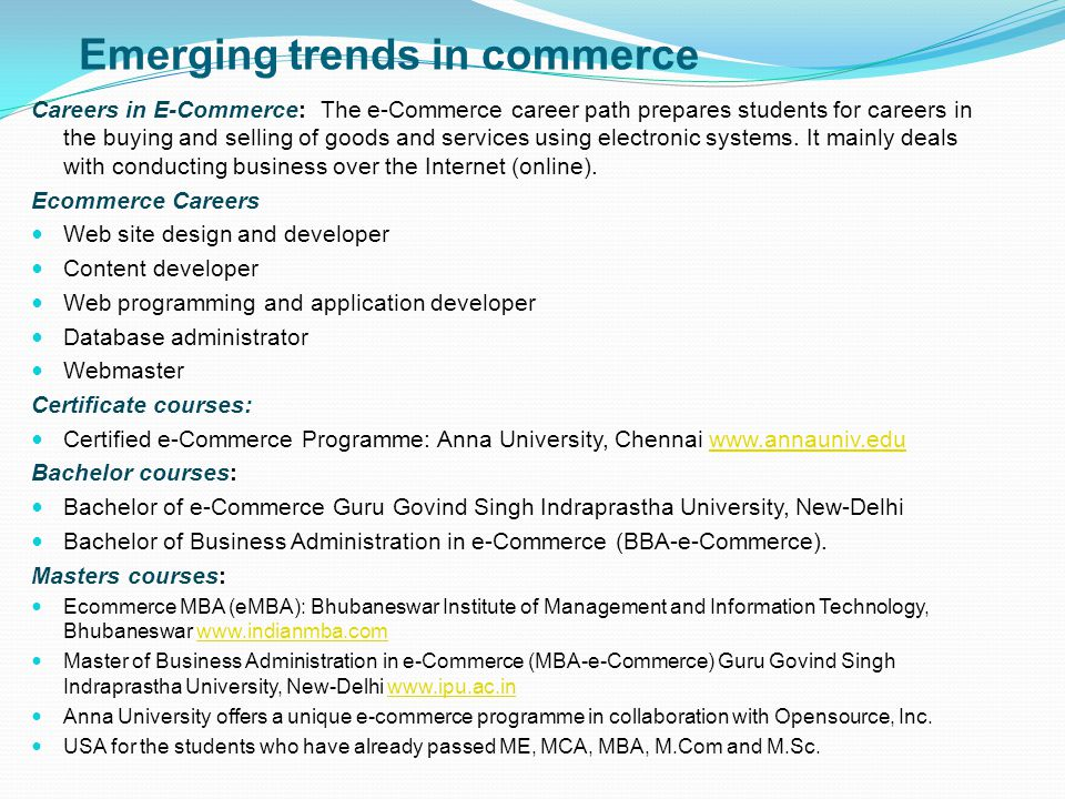 Emerging trends in commerce