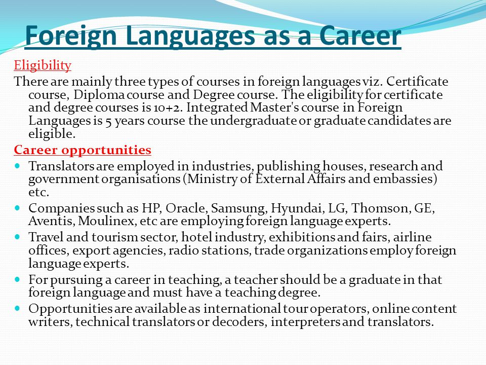 Foreign Languages as a Career