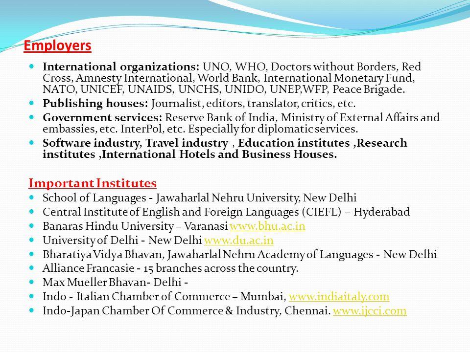 Employers Important Institutes