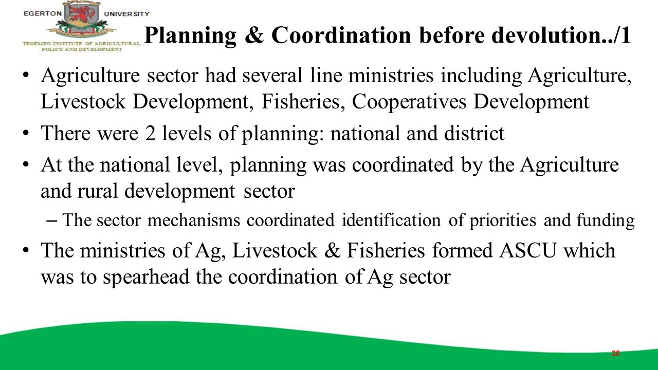 Planning & Coordination before devolution../1