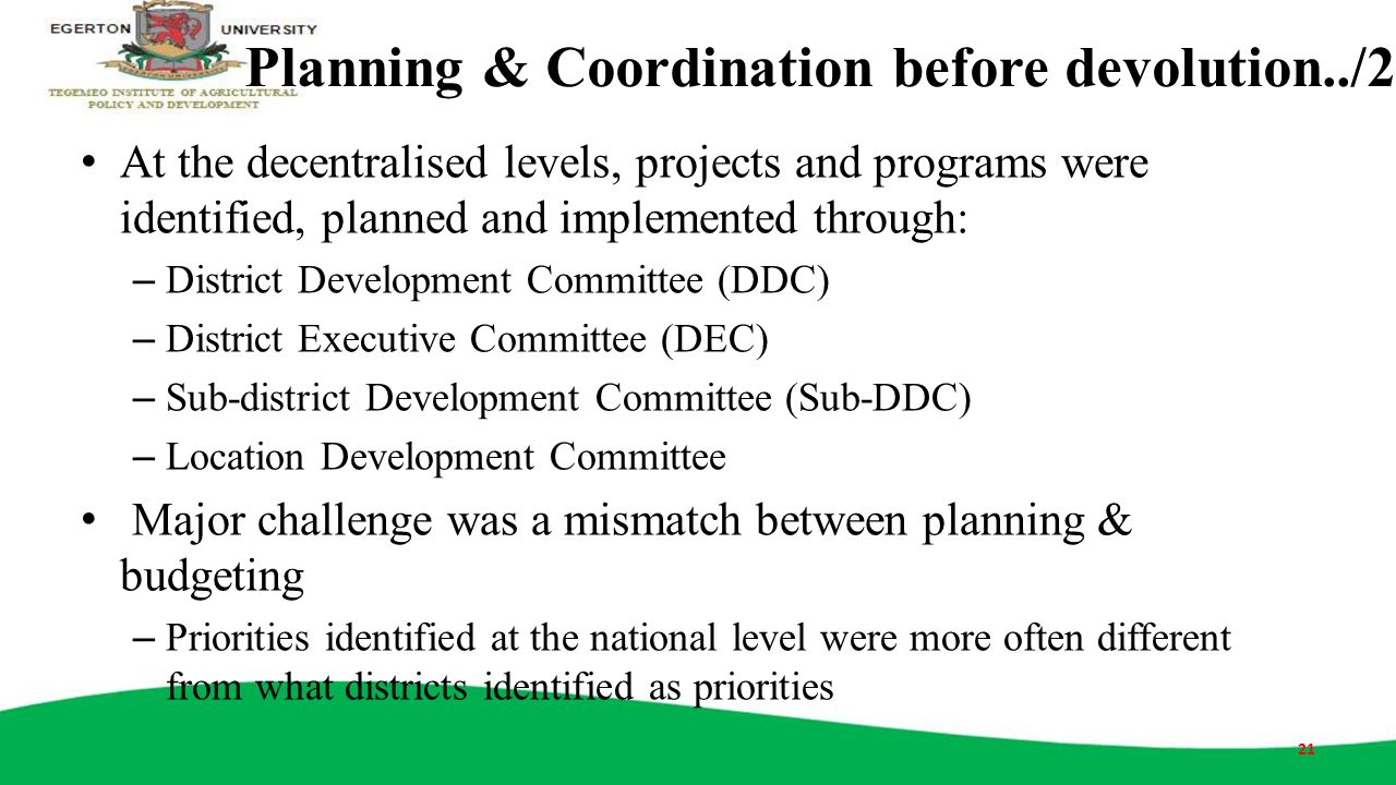 Planning & Coordination before devolution../2