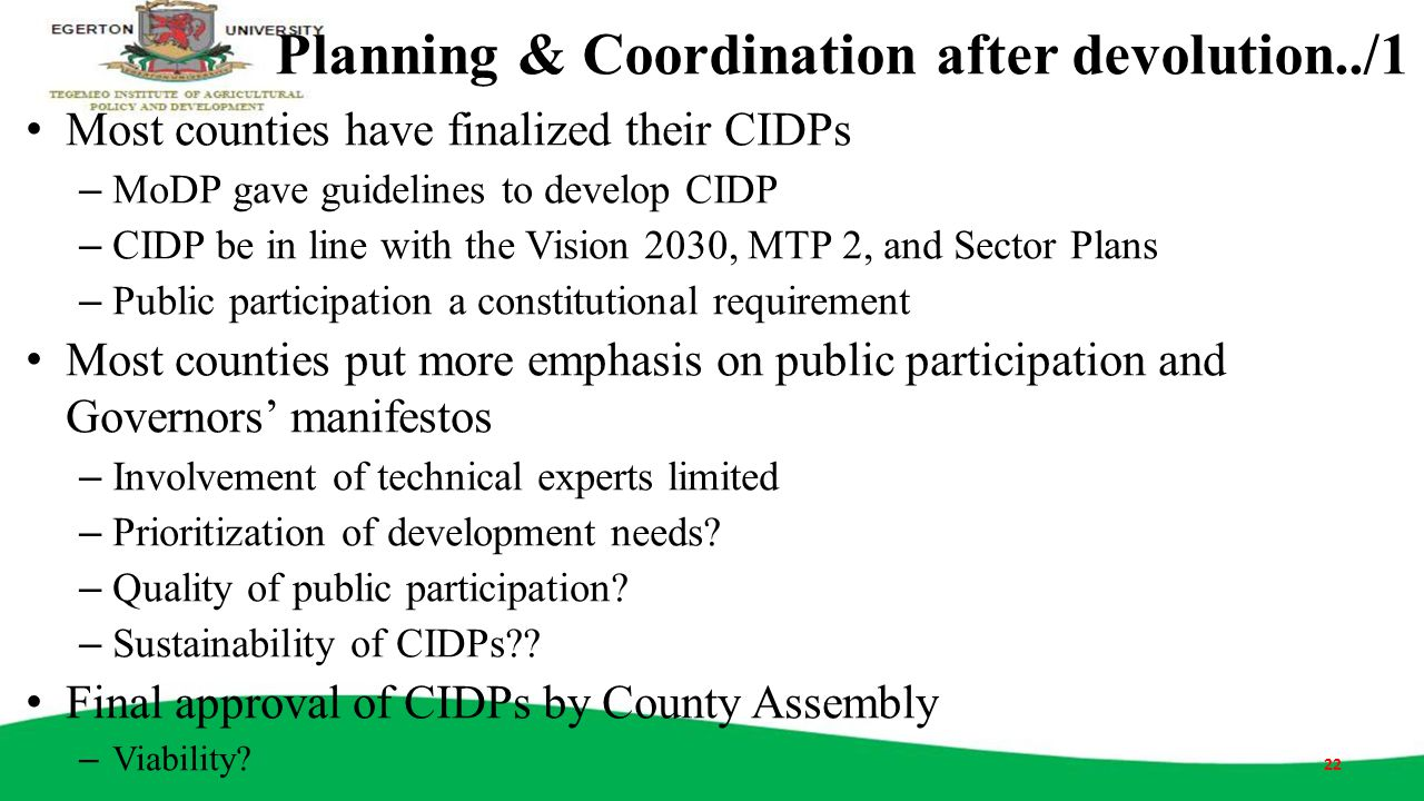 Planning & Coordination after devolution../1