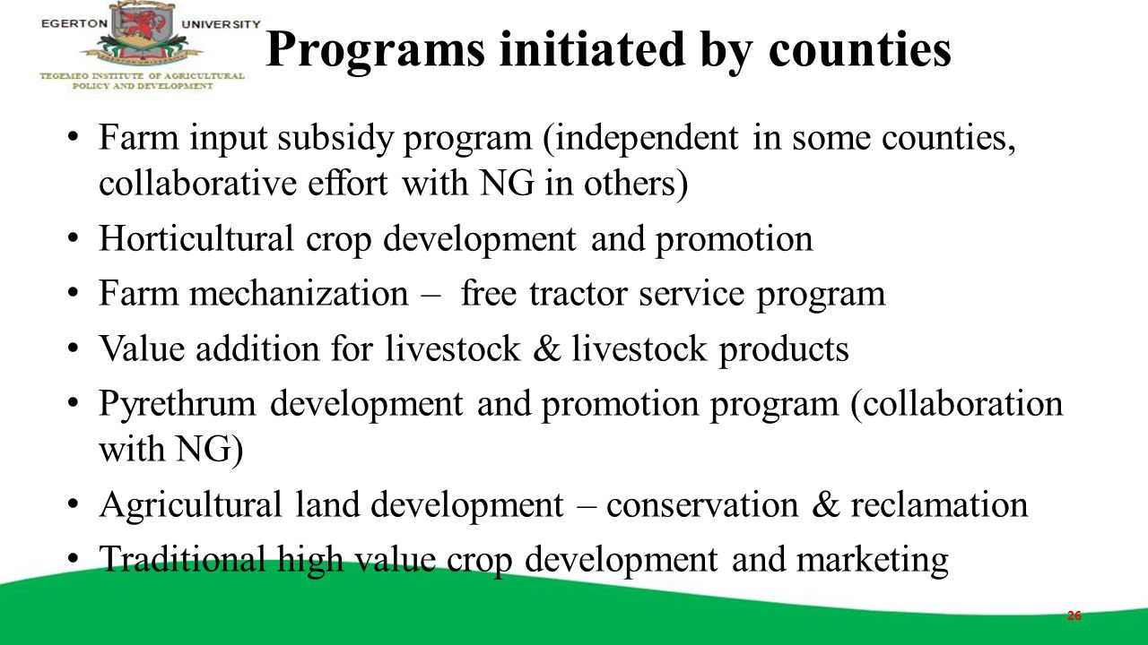 Programs initiated by counties