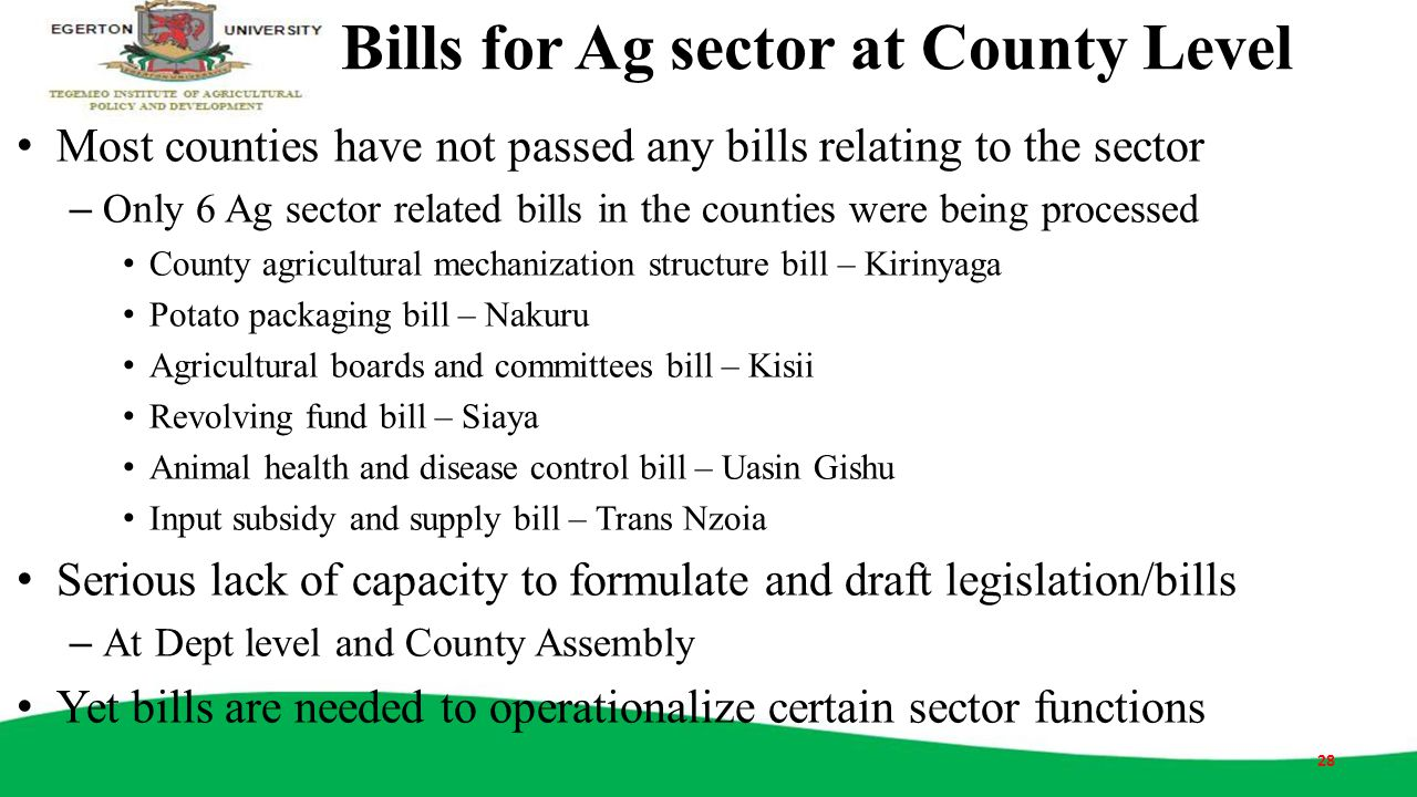 Bills for Ag sector at County Level