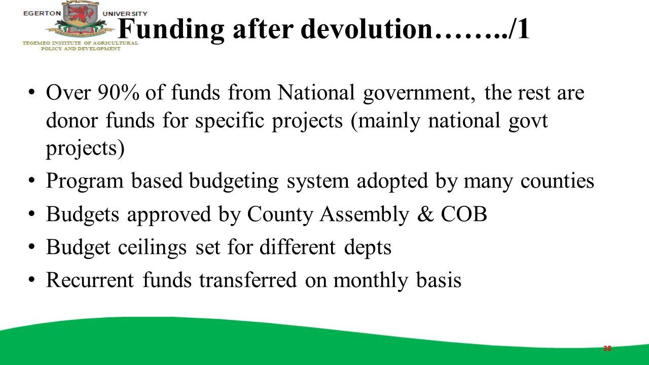 Funding after devolution……../1