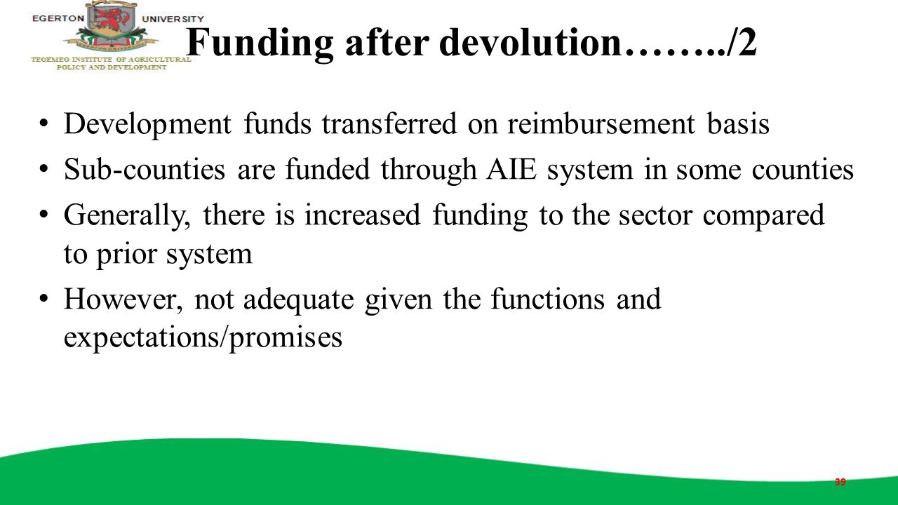 Funding after devolution……../2