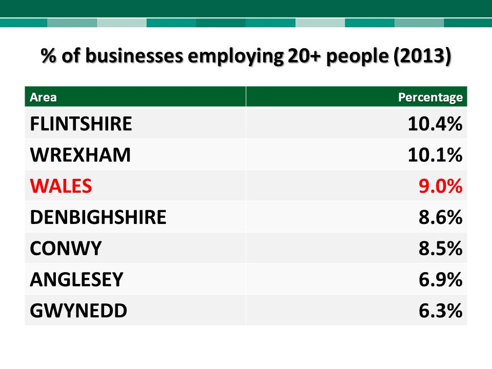 % of businesses employing 20+ people (2013)