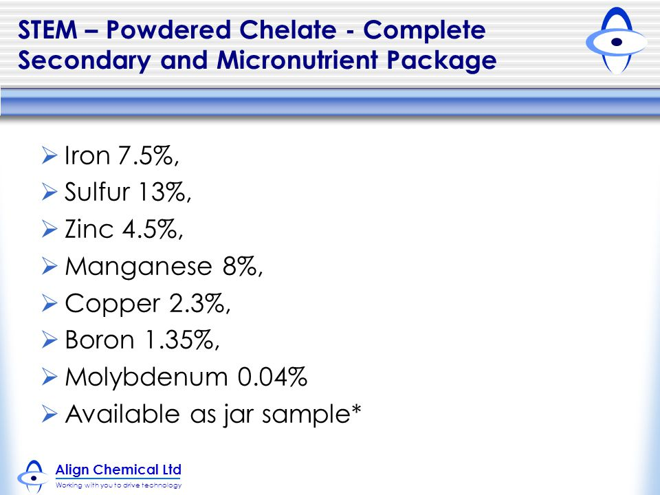 STEM – Powdered Chelate - Complete Secondary and Micronutrient Package